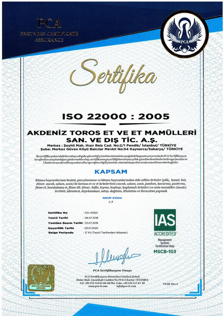 AKDENİZ TOROS ISO 22000 BELGEMİZ