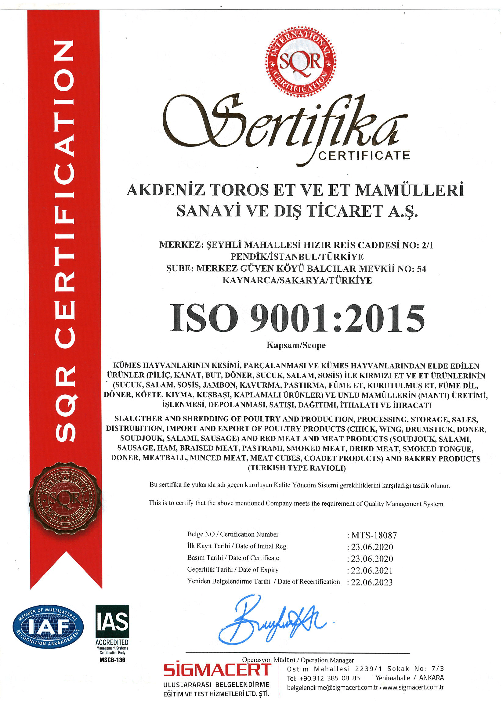AKDENİZ TOROS ISO 9001 BELGEMİZ
